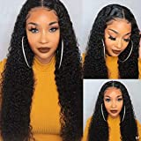Lace Front Human Hair Wigs for Black Women 9A Brazilian Deep Wave Wig Pre plucked Human Hair Wigs with Baby Hair Deep Curly Human Hair wig 150% Density Bleached Knots 18inch