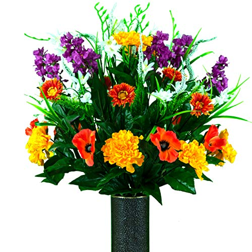 Sympathy Silks Artificial Cemetery Flowers - Realistic - Outdoor Grave Decorations - Non-Bleed Colors, and Easy Fit -Sunset Poppy Wildflower Mix Bouquet