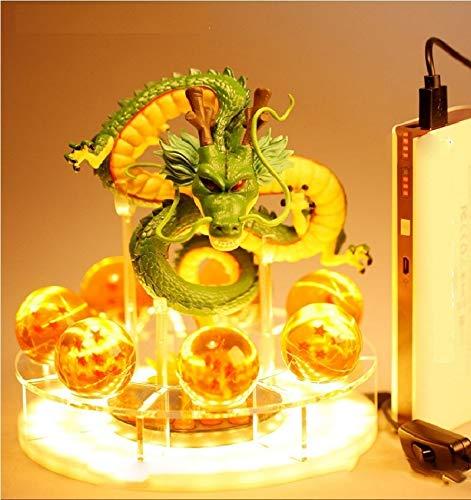Qiong YaoTIANVeilleuse Dragon Ball Z Son Goku Esprit Bombe Lampe De Table Luminaria LED Veilleuse Chambre Lampes De Table Décoration De La Maison Diy Boule De Cristal (Emitting Color : Green)