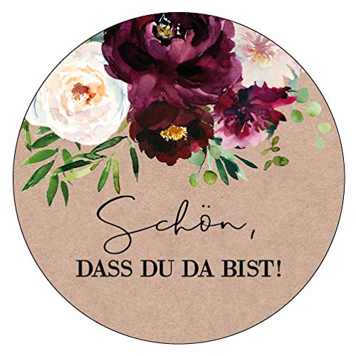 48 x Aufkleber 30 mm Hochzeit Gastfreundschaft Boho Gastgeschenk Etikett 174303