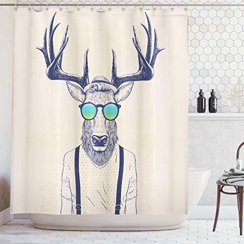 ABAKUHAUS Duschvorhang, Illustration von Hirsch REH im Hippie Hipster Erscheinungsbild Vintage mit Sonnenbrille in Creme Farbton, Blickdicht aus Stoff inkl. 12 Ringe für Das Badezimmer Waschbar, 175 X 200 cm