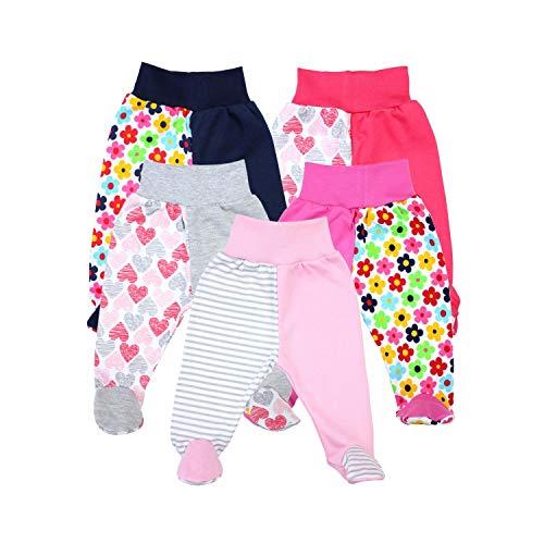 TupTam Baby Unisex Hose mit Fuß Bunte 5er Pack, Farbe: Mädchen, Größe: 74