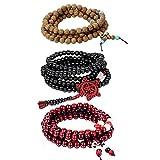 Cupimatch Bracciale Braccialetto Buddha Preghiera Uomo Donna Buddista Tibetano Legno Perle rosari Multistrato di avvolgimento(3 Colori/Pezzi) Regalo Perfetto