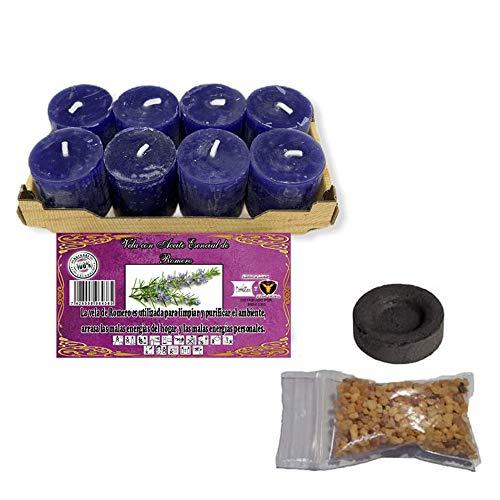 Pack 8 velas perfumadas aroma a romero - + bolsa de incienso en grano + pastilla de carbón.