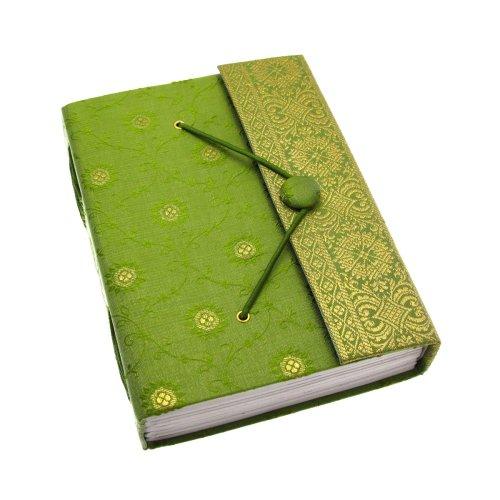 Fair Trade Quaderno ricoperto in tessuto sari 140 x 185mm grande verde