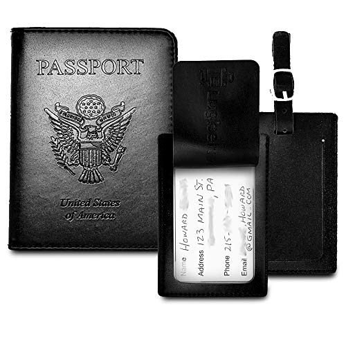 Leather Passport Holder w/RFID Shield - Privacy Passport Wallet + 2 Matching Luggage Tags