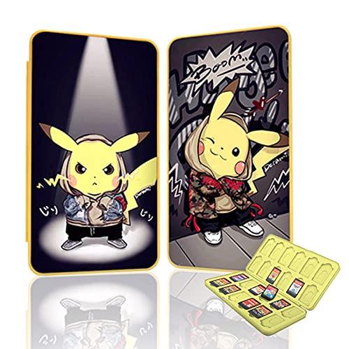 Funda para Almacenamiento de 24 Juegos para Nintendo Switch y 24 TF Card, Estuche para Tarjetas de Memoria, Nueva Estuche Cartuchos para Nintendo Switch con Patrón Dinámico 3D (Pikachu)