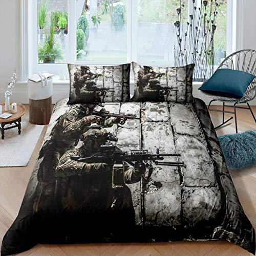 Soldier With Weapon Comforter Cover, Boys Teens Under Mission Duvet Cover, Army Rifle Machine Gun Bedding Set, Military Themed Bedspread Queen Size Camouflage Bedroom Decoration For Youth Man