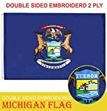 G128 - Michigan State Flag | 3x5 feet | Double Sided Embroidered 210D - Indoor/Outdoor, Brass Grommets, Heavy Duty Polyester, 2-ply