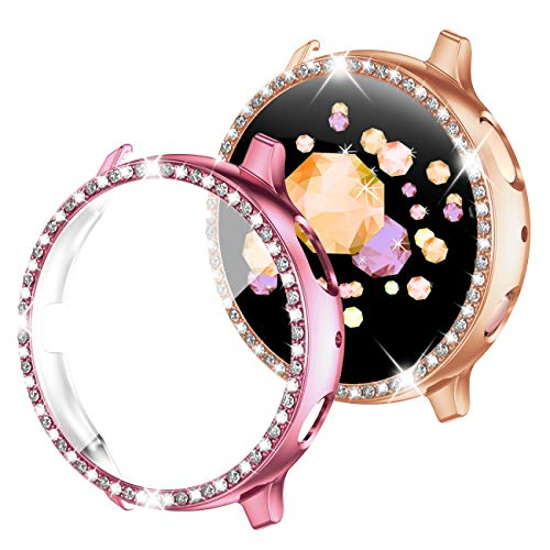 GEAK Compatible with Samsung Galaxy Watch Active 2 Screen Protector,Shining Crystal Diamond Plated PC Bezel Shell with HD Screen Protector Cover for Galaxy Active 2 Watch Case 40mm Rose Gold/Pink