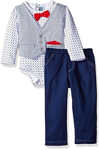 Little Lad Baby Boys 2 Piece Faux Vest Bodysuit Pant Set