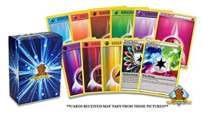 100 Pokemon Energy Cards - 95 Basic Energy Cards, 5 Holo Energy All Cards are - Authentic - Includes Golden Groundhog Treasure Chest Storage Box! from Golden Groundhog