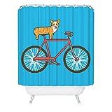 Corgi on a Bike Shower Curtain Cute Funny Dog Bicycle Bathroom Decor Great Gift