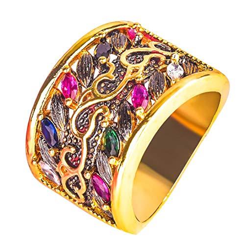 Anillo de compromiso Benoon para nudillos, estilo gótico, multicolor, chapado en piedras preciosas de imitación, regalo de joyería – oro US 9