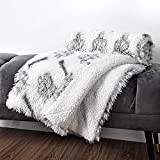 Super Soft Dog Blanket for Puppy Cats, 30' x 40', Fluffy Plush Faux Fur Dogs Mat Couch/Bed Covers, Self-Warming, Machine Washable, Reversible Velvet & Sherpa Blanket Throw with Paw Print