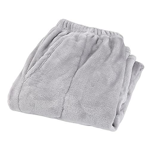 QiKun-Home Invierno Grueso Coral Fleece Pantalones de Gran Tamaño Suelto Caliente Pantalones Pantalones Inicio Pantalones Termal Terciopelo Polar Invierno Pantalones Gris XL