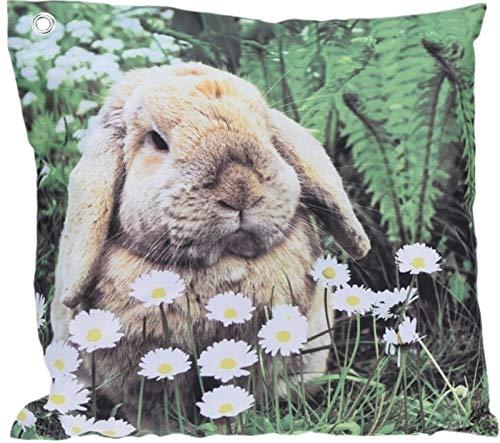 Trendkontor Gartenkissen 45 x 45 cm Außenkissen Dekokissen Outdoor Kissen 8 versch. Designs (Kaninchen)