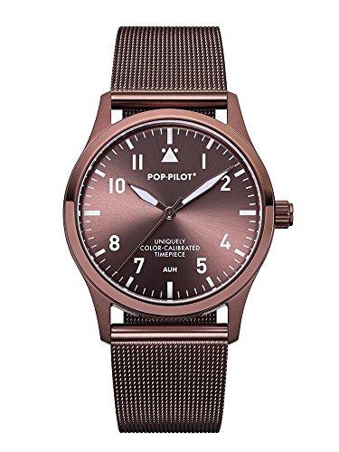 Pop Pilot Damen Analog Quarz Uhr mit Edelstahl Armband AUH