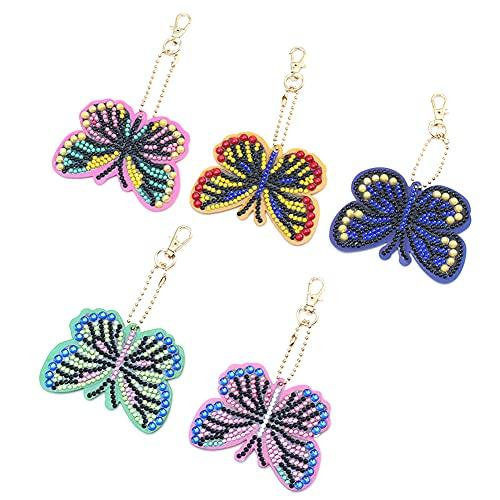 Frh 5D Diamond Painting Keychain, 5 Pcs Full Drill Diamond Painting Keychains Butterfly Art Craft Pendant