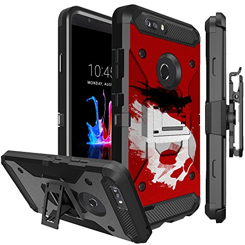 Untouchble Case for ZTE Zmax Pro 2, ZTE Blade Z MAX Case, ZTE Sequoia Case [TANK SERIES] Textured Rugged Holster Belt Clip Combo Shell with Kickstand Dual Layer Heavy Duty - Skull Crow Red