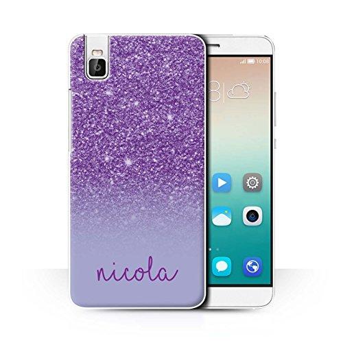 Personalisiert Hülle Für Huawei Honor 7i/ShotX Persönlich Glitter Effekt Lila Design Transparent Ultra Dünn Klar Hart Schutz Handyhülle Hülle