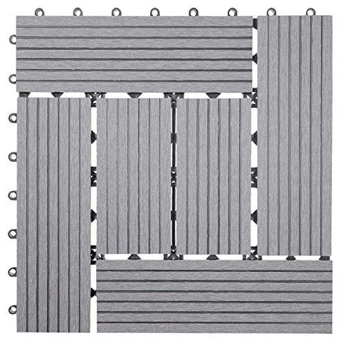 Mendler WPC Bodenfliese Rhone, Holzoptik Balkon/Terrasse, 11x je 30x30cm = 1qm versetzt ~ Basis, grau