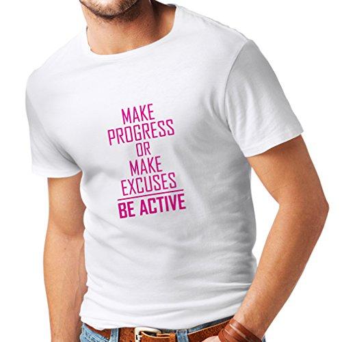 Maglietta da Uomo Be Active - Vivere Senza Scuse - Motivazione - Citazioni quotidiane di Ispirazione per Il Successo (Medium Bianco Magenta)