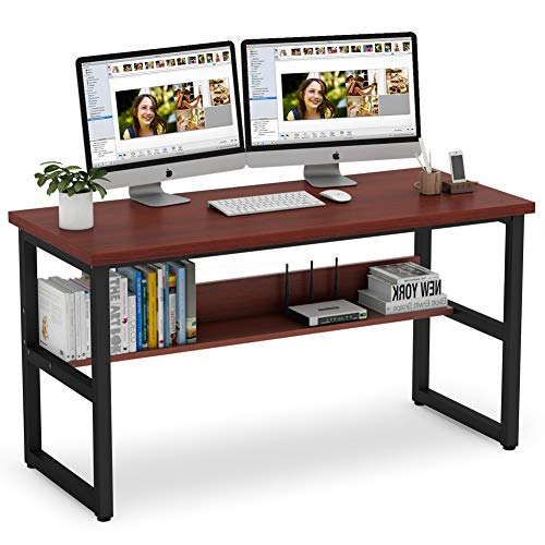 Tribesigns 55 Inches Computer Desk with Bookshelf Works as Office Desk...