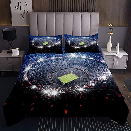 Fußball Steppdecke für Mädchen Jungen Sport Thema Bettüberwurf 220x240cm Fußballfeld Muster Tagesdecke Raumdekor Wettbewerbsspiele 3St