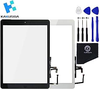 KAKUSIGA タッチスクリーン交換用 iPad 5 / iPad Air(A1474 / A1475 / A1476)フロントタッチパネル タッチスクリーンデジタイザー + ホームボタン + フレックスケーブル + 粘着テープアセンブリ (...