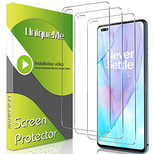 [3 Pack] UniqueMe Screen Protector for OnePlus Nord Tempered Glass,High Definition Easy Installation [Fingerprint Free] - OnePlus Nord