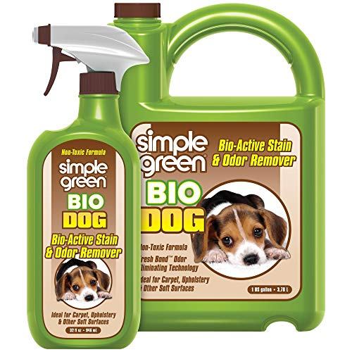 Simple Green Bio Dog Active Stain & Odor Remover - Enzyme Cleaner & Stain Remover for Carpet, Rugs & Fabric  eliminates Urine Odor (32 oz Spray & 1 gal Refill)