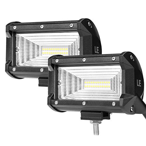LE 5 Inch LED Work Light Bar, 72W 6000K, Spotlight, Daylight White, IP67 Waterproof, Driving Light for Truck, Car, ATV, SUV, Jeep, Boat and more, Pack of 2