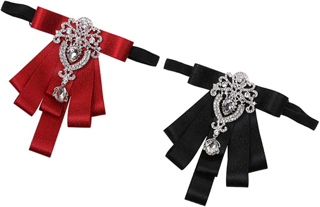 Bonarty 2pcs Unisex Adjustable Crystal Bow Tie for Tuxedo Wedding Tie Event Modern