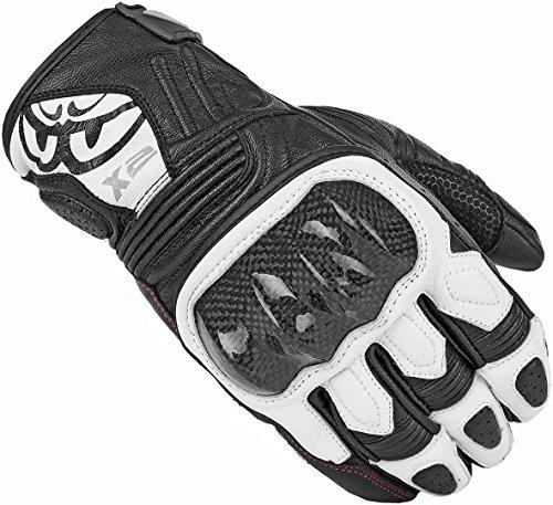 Berik NexG - Guantes de piel para motocicleta (negro/blanco, M)