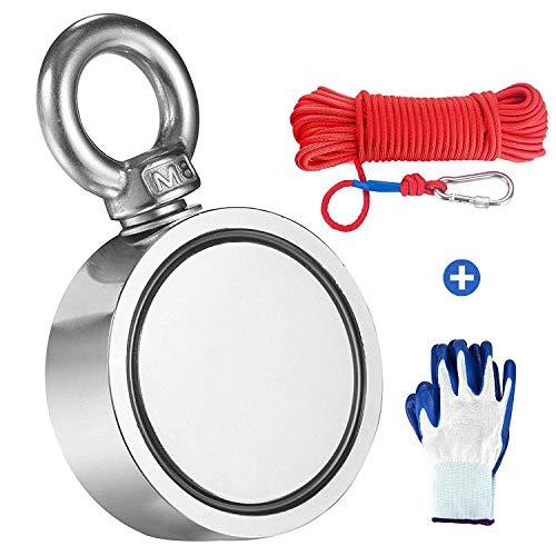 Magneti Neodimio Potenti, include forte magnete (300kg), corda, guanti, colla per filettare, diametro 60mm, magneti da pesca con corda da 20m per la caccia al tesoro subacquea e il recupero di oggetti