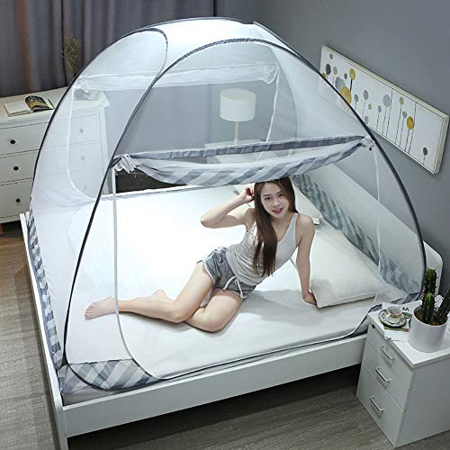 XEHbaby Pop up Mosquito Net for Bed Camping Baby Crib Portable Anti Mosquito Tent Free Standing Kids Adult Bottomed Sleep Bug Nets Outdoor Foldable Popup Large Mesh Canopy,150200170cm