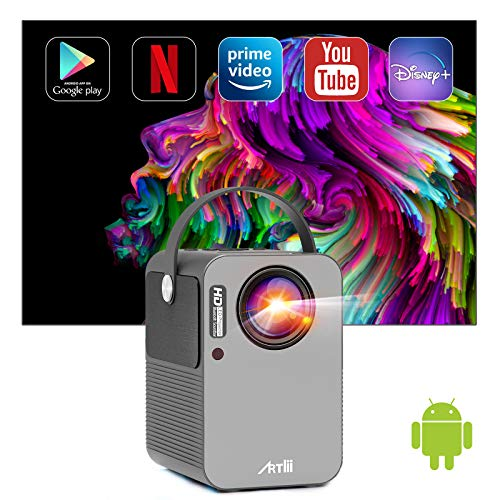 Android TV 9.0 Portable Projector, Artlii Play Smart WiFi Bluetooth Projector with Built-in Netflix, Disney+, Hulu, 1080p Support Projector, ±45°4D Keystone Correction, HiFi Dolby Stereo