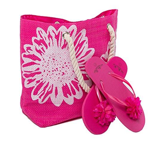 AIREE FAIREE Strandtasche Damen + Zehentrenner Tasche Größe 46 x 33 cms Blume Muster