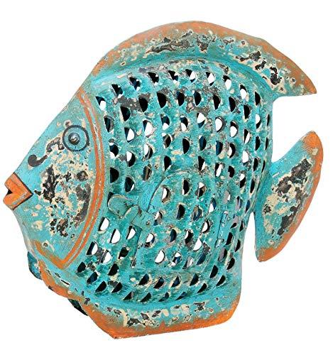 ETC dekorative ausgefallene Metallfigur Dekofigur Fisch zum Stellen in 3 möglichen Größen und 2 Farben (klein 21 x 6,5 x 18 cm, blau-braun)