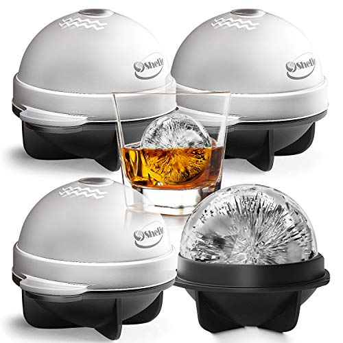 Round Ice Cube Mold Set of 4 Individual 2.5 Inch Tight Sealing, Leak Proof Silicone Big Sphere Ice Ball Makers for Whiskey, Scotch and Bourbon - Black