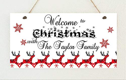 PotteLove Personalised Family Christmas Welcome Sign Plaque Gift Present Xmas Scandi Rustic Wood Wall Art Home Family Decoration Design Plank Plaque Sign 4'X8'