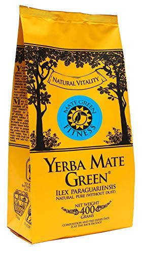 Yerba Mate Green \'Fitness\' Brasilianischer Mate-Tee 400g | Süßer, erfrischender Mate Tee | mit Sibirische Ginsengwurzel, Korianderfrucht, Grüner Tee Gunpowder und Grapefruitaroma