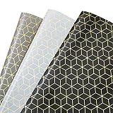 MOOKLIN ROAM Papier Cadeau, Lot de 3 papier d'emballage d'or Motif en Géométrique pour Anniversaire,...