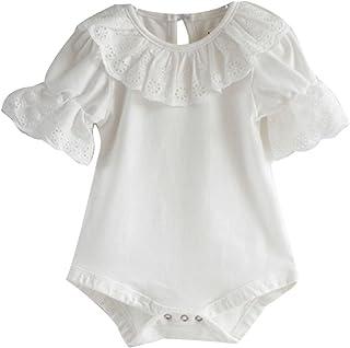 الرضع زهرة الدانتيل طوق الصلبة رومبير طفل الفتيات قصيرة الأكمام ارتداءها بذلة (Baby Age : 7-9 months, Color : White)