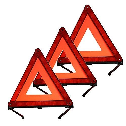 KAFEEK Reflective Warning Triangle Emergency Warning Triangle Roadside Safety Triangle Kits (Set of 3)