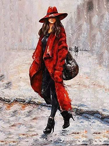 LSDEERE DIY Ölgemälde Malen nach Zahlen Roter Mantel Frauen Malen nach Zahlen Kreative Geschenke für Erwachsene Kinder und Anfänger auf Leinwand gezeichnet 40x50cm