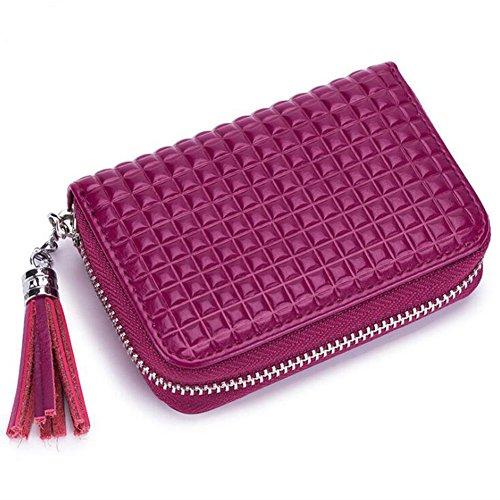 DcSpring RFID Mujer Cartera Tarjeteros Mini Cuero Genuino Monedero Pequeñas Piel con Cremallera Portatarjetas con Borla (Rosa Púrpura)