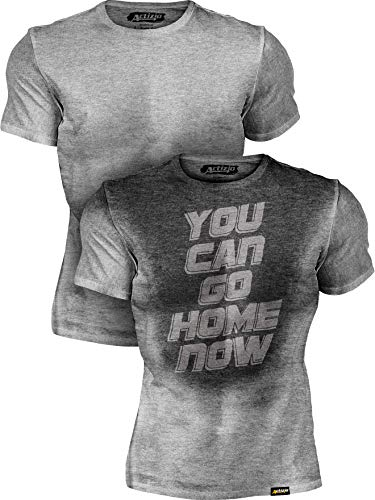 Actizio Sweat Activated Funny Motivational Workout Shirt, You Can Go Home Now (Athletic Heather, L)