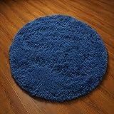 YJ.GWL High Pile Velvet Round Bedroom Living Room Rugs Soft Nursery Carpet Shaggy Area Rug 4 Feet Indigo